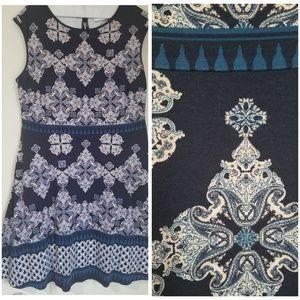 Print A line Dress with Pockets